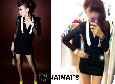 【NAINAIS】Anna‧7339 韓版 夜店跑趴 紳士黑白假領拼色深v透肌網紗袖洋裝 現