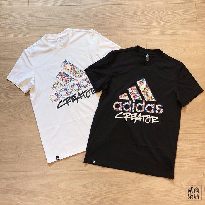 (貳柒商店) adidas Badge of Sport Tee 男款 國旗 短袖 白 DX4892 黑 DX6891