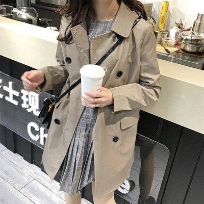 秋季女裝正韓小個子卡其色港風外套寬鬆中長款風衣