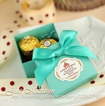 AM好時光【D06】Tiffany 經典湖水藍緞帶喜糖盒❤100組1400元 婚禮小物 送客禮回禮謝禮 包裝盒 棉花囍糖