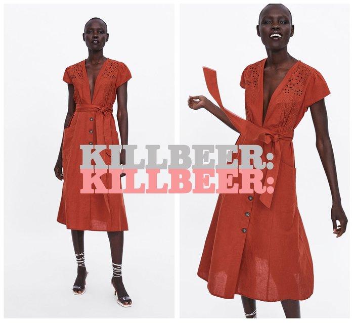 KillBeer:波西米亞嬉皮風之 歐美復古華麗飄逸刺繡鉤花簍空V領排扣垂墜感連身裙長洋裝061416