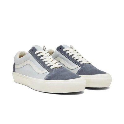 VANS/范斯 OG Old Skool 黑藍色反毛皮耐磨低幫運動休閒鞋