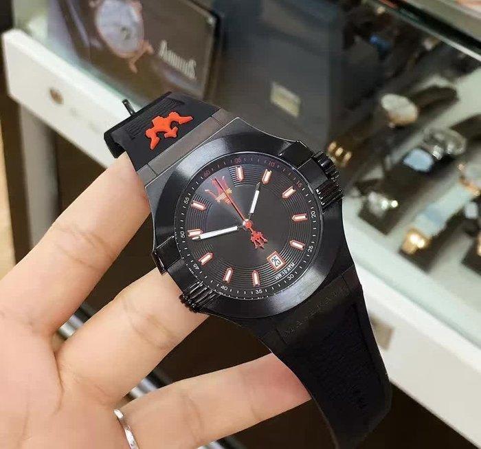 請支持正貨,瑪莎拉蒂手錶MASERATI手錶Potenza款,編號:MA00167,黑色錶面紅黑色皮革錶帶款