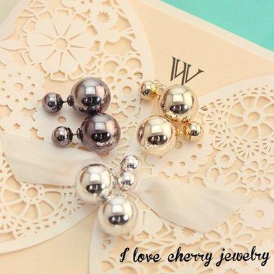 個性鏡面金屬感大小珍珠造型耳環【櫻桃飾品】【20370】