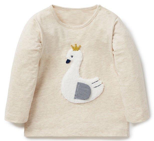 ☆草莓花園☆BM-2418 白色天鵝 純棉童裝 歐美風兒童長袖衣服 純棉童T 女童  童T恤
