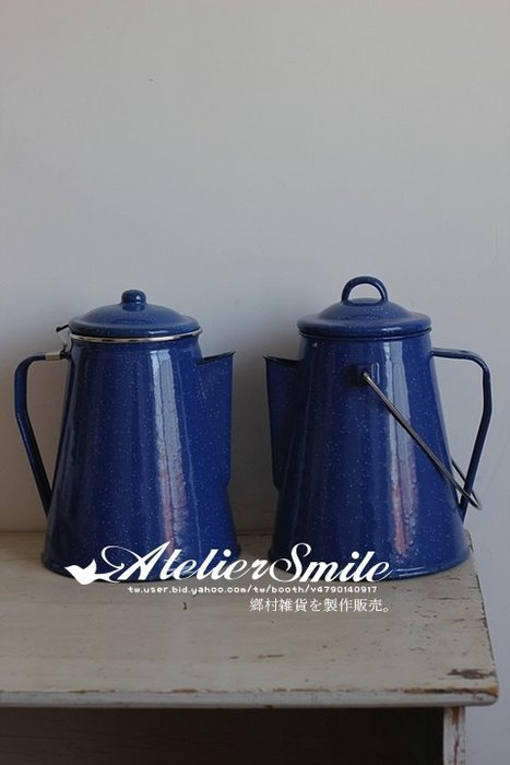 [ Atelier Smile ]  鄉村雜貨 復古 老式搪瓷 戶外野餐咖啡壺 茶壺  限量 提把款 (現+預)