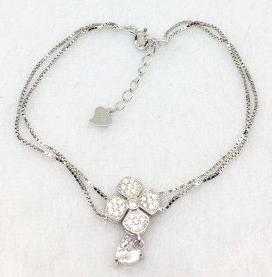 ☆╮Darling Baby ☆香港代購 正生銀飾~花朵+三角鋯石兩列手鏈