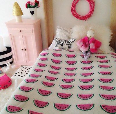 Sis 歐美 北歐 時尚 西瓜 推車毯 嬰兒毯 空調毯 毛毯 滿月禮 雙面針織 家居飾品 月子包