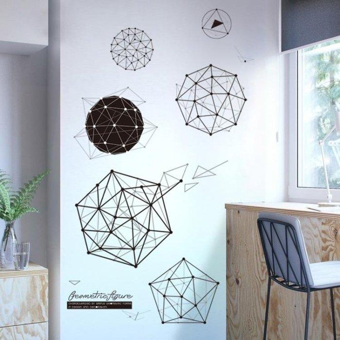 墻貼 個性時尚宿舍幾何三維餐廳自粘墻貼紙創意