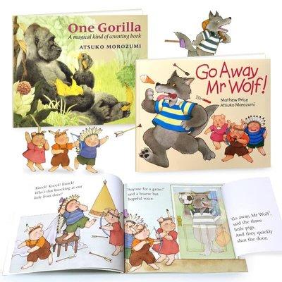 廖彩杏老師學習書單 推薦集兩冊 (附音檔) Go Away Mr Wolf One Gorilla 繪本