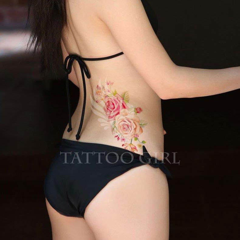 【滿350免郵】里澳協~淺色-性感牡丹紋身貼 花臂刺青 性感個性仿真刺青 QS-A113