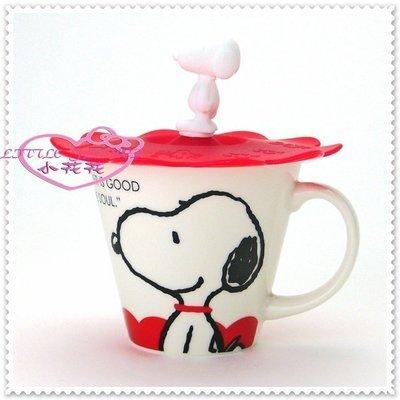 ♥小公主日本精品♥ Hello Kitty 史努比 馬克杯 附杯蓋/陶瓷杯/咖啡杯(紅)大臉11252801