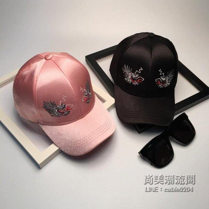 999帽子女季韓版時尚雙龍頭刺繡棒球帽潮帽復古中國風絲綢鴨舌帽01NO03