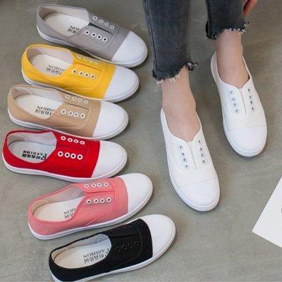 女款 日系無印輕便百搭休閒鞋 平底鞋 帆布鞋 懶人鞋 小白鞋 Ovan