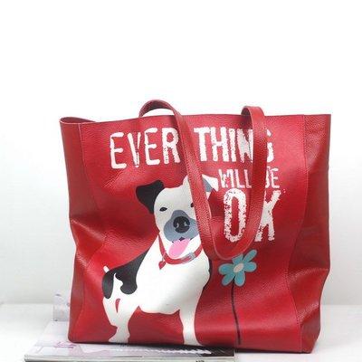 手提包 真皮 托特包-紅色狗狗肩背牛皮女包包73vi17[獨家進口][米蘭精品]