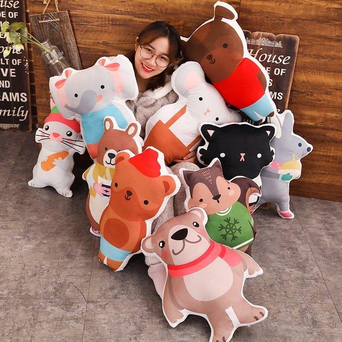 創意 抱枕 公仔動物抱枕大號3d可愛毛絨玩具車內卡通兒童萌萌可愛床上少女可拆洗