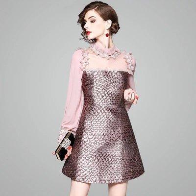 Olivia奧莉-氣質網紗拼接短洋裝 中大尺碼S-XL 洋裝 氣質 連身裙 小禮服 喜宴媽媽裝 長洋裝
