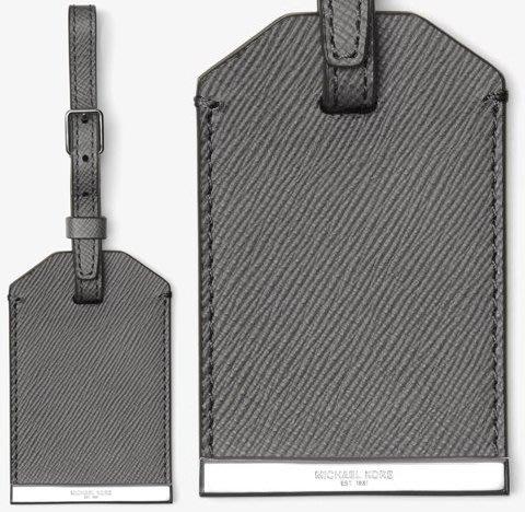 全新 Michael Kors Men MK 灰色皮革製行李吊牌子彈級金屬 ,附原廠禮盒,低價起標無底價!本商品免運費!