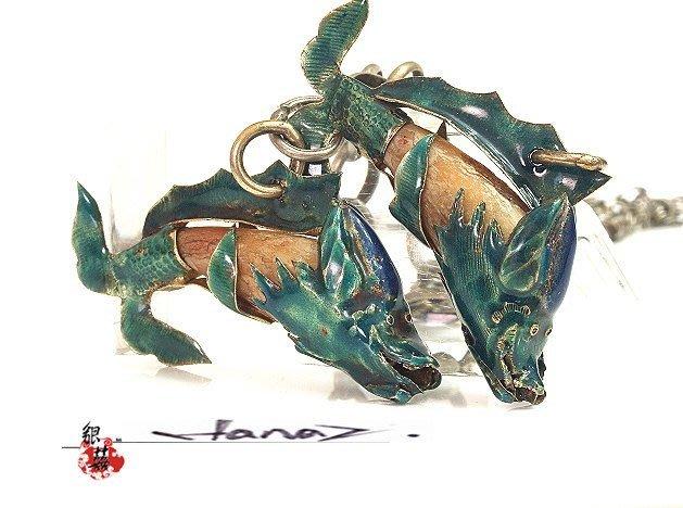 銀囍古董銀飾--老銀手鐲 純銀手鍊 銀琺瑯彩 烤藍綴飾 包掛 魚兒成雙 罕見藏品釋出典藏