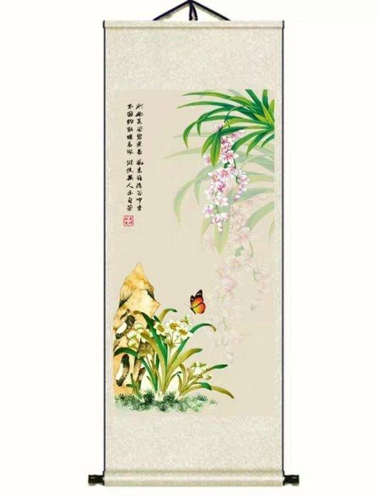 絲綢卷軸畫 (140X45CM)  花鳥字畫 蘭花  -已裱卷軸可直接懸掛FSJ168(多款可選)