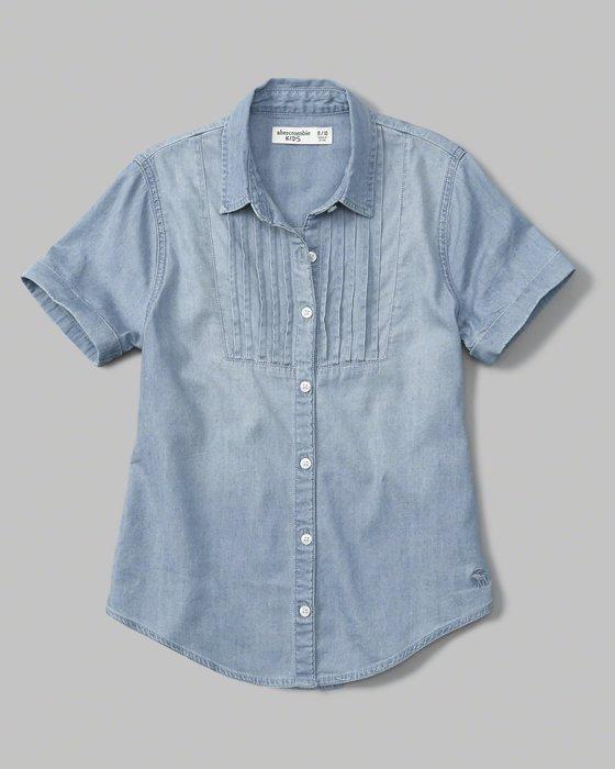 【天普小棧】a&f abercrombie&fitch KIDS button-up tunic短袖牛仔襯衫13/14