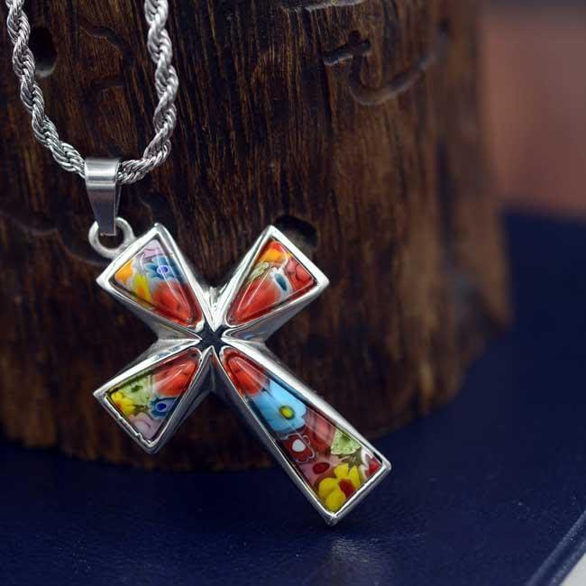 【弘慧堂】 精美千花琉璃鈦鋼十字架(方頭) 天主教聖物 耶穌基督 聖母瑪利亞