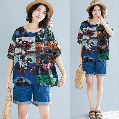 大尺碼女裝大尺碼 mm180斤遮肚夏裝韓版寬鬆顯瘦棉麻T恤 女短袖上衣200斤