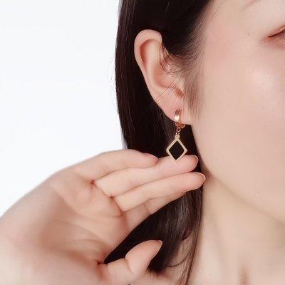 Lissom韓國代購~e 家懶人正韓鈦鋼鍍玫瑰金簡約氣質個性百搭耳釘女款扣式耳環耳扣