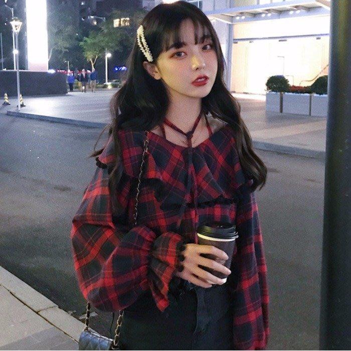 韓版 平口T恤 一字肩 女裝掛脖系帶 一字領 露肩荷葉邊喇叭袖寬松撞色格子襯衫潮