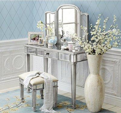 『格倫雅』歐式新古典小戶型臥室玻璃鏡面梳妝臺實木烤漆收納化妝臺桌梳妝柜^15630