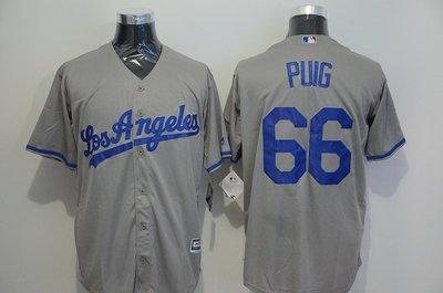 運動專用~MLB道奇隊球衣Dodgers棒球服66號PUIG灰白藍色刺繡精英短袖開衫