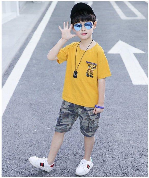 日韓歐美♥韓版 男童夏季休閒款機器人圖案 短袖T+迷彩短褲  兩件式套裝 帥氣必備款    【E884】