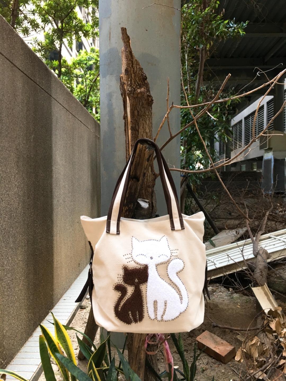 【丹寧坊】貓咪帆布包╱水漣系列