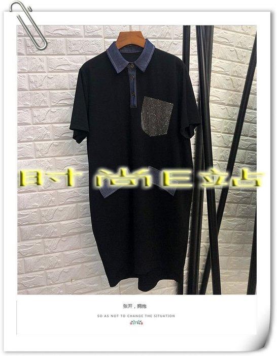 時尚E站【~SSEZ~】7117063071 時尚三粒扣翻領牛仔燙鑽口袋休閒短袖裙