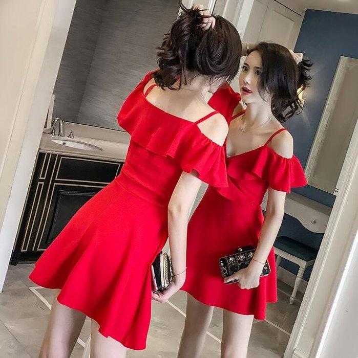 洋裝 夜場a字裙 顯瘦氣質酒吧女裝吊帶裙 V領夜總會性感連身裙子 小禮服—莎芭