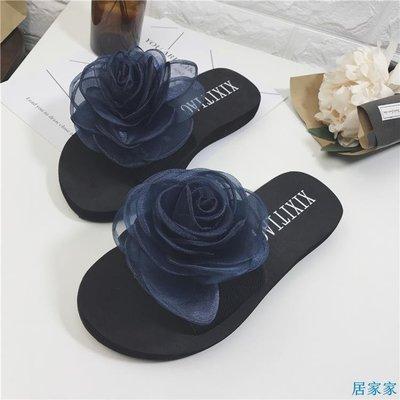 居家家  韓版新款涼拖鞋女鞋夏休閑百搭度假花朵沙灘鞋室內外一字拖鞋