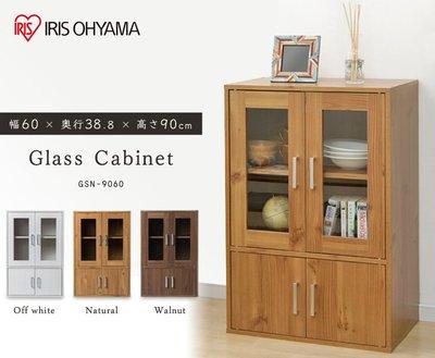 【TLC代購】IRIS OHYAMA 廚房收納櫃 GKN-9060 玻璃櫃 簡約木紋 寬度60CM 三色 ❀預購商品❀