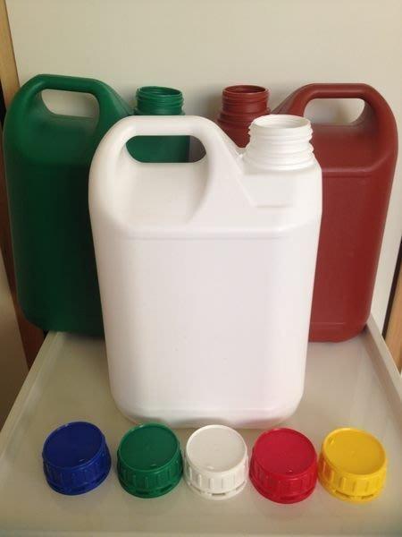 {2號HDPE}空瓶/分裝瓶/塑膠罐/化工瓶/原料瓶子5000ml瓶+蓋五色任選NT45元/一組.優惠中