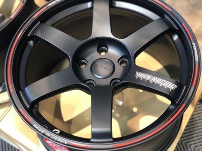 【超前輪業】正品 日本製 RAYS TE37 鍛造 18吋鋁圈孔112 消光黑紅邊 含中心蓋