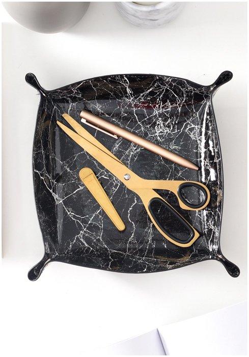 北歐大理石(大號) 皮革收納盒 桌面收納 大理石紋收納籃 飾品收納 鑰匙鏡子 多功能收納盒 隔熱墊 |悠飾生活|