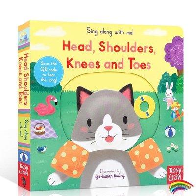 英文原版 從頭到腳 Head Shoulders Knees And Toes Sing Along With Me 歐美經典童謠 抽拉低幼兒英語啟蒙玩具書 h