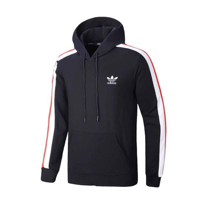 愛迪達運動外套 男生 連帽長袖外套 經典黑白大logo 棉質 大學潮流外套 戶外健身 跑步 防風保暖