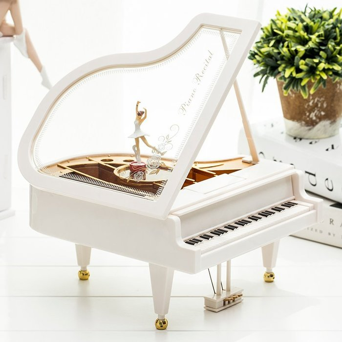 芭蕾小女孩音樂盒  鋼琴旋轉跳舞 擺件送女友禮物音樂盒 生日禮品創意(小號)_☆優購好SoGood☆