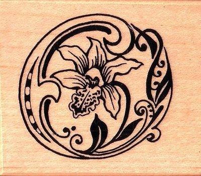 陽光一品DIY卡片印章專賣店~~PSX印章--英文字花形O(籣花)--##F1114##~~美國製絕版品