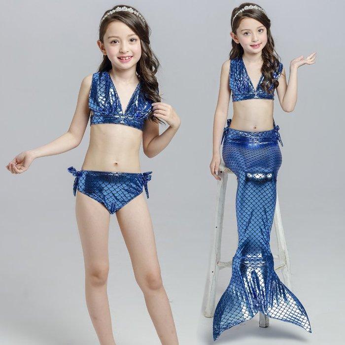•*~ 辣媽咪衣飾小舖 ~*•❤童裝系列 📣C870825韓版卡通美人鱼尾巴表演泳装(上衣+內褲+魚尾)