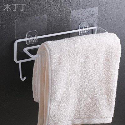 帶掛鉤免打孔壁掛式鐵藝毛巾架浴室置物架單雙桿廚房抹布吸盤掛架WY