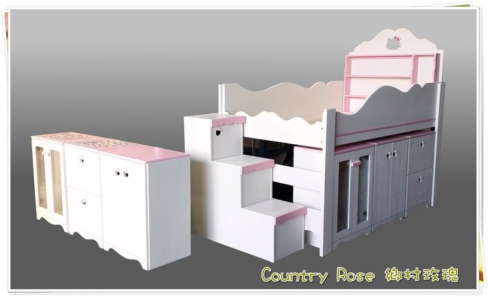 粉紅蝴蝶結床組 鄉村玫瑰 訂製家具 置物櫃 床鋪