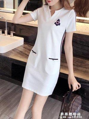 胖妹妹夏季洋裝女新款大碼女裝中長款寬鬆顯瘦短袖休閒裙子
