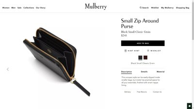 Mulberry 小牛皮散銀包 Small Zip Around Purse