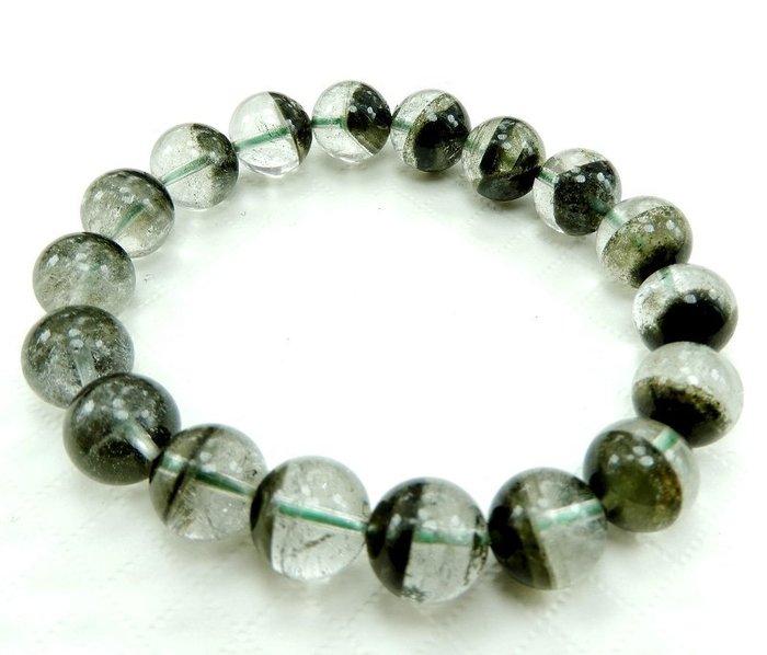 [天祥水晶]~天然綠幽靈手珠手鍊金字塔水晶11mm圓珠~
